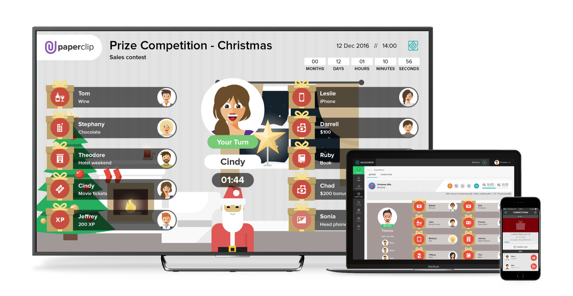 Christmas sales contest, salesscreen, gamification, holiday sales contest